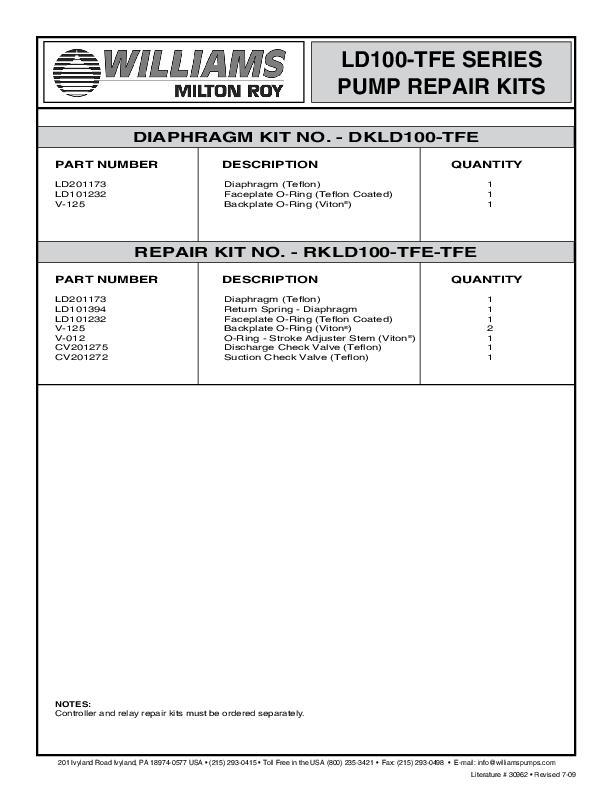 30962-Rev-7-09-LD100-TFE-Parts-List-Williams